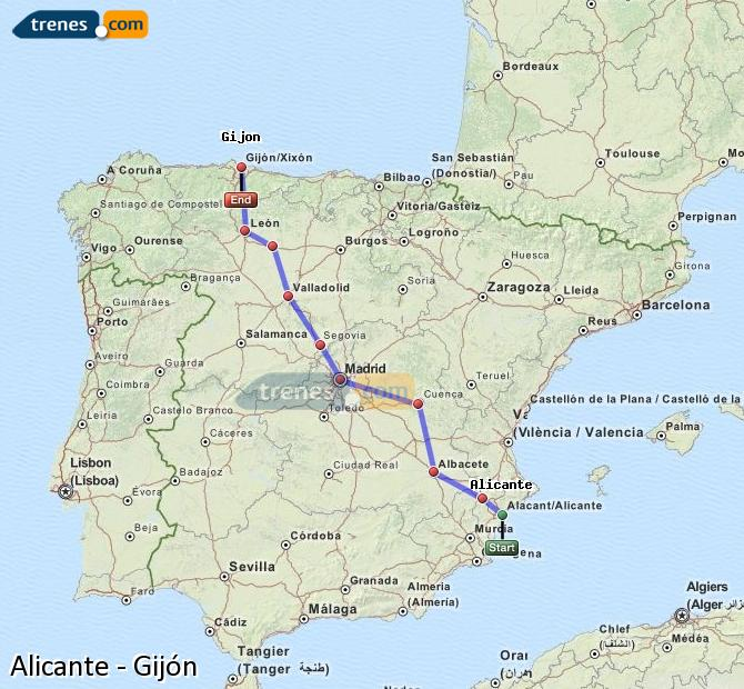 Agrandir la carte Trains Alicante Gijón