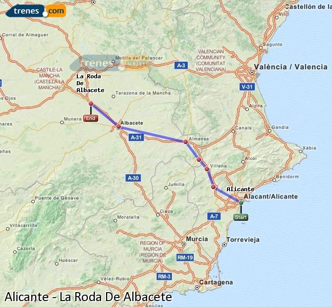 Enlarge map Trains Alicante to La Roda De Albacete