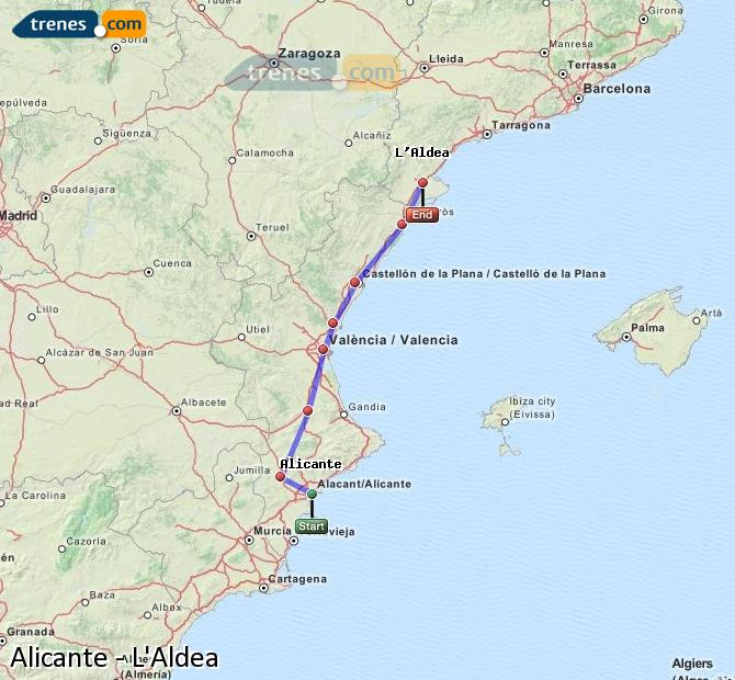 Ampliar mapa Comboios Alicante L'Aldea