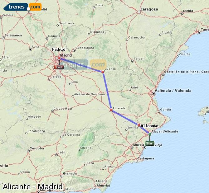 Ingrandisci la mappa Treni Alicante Madrid
