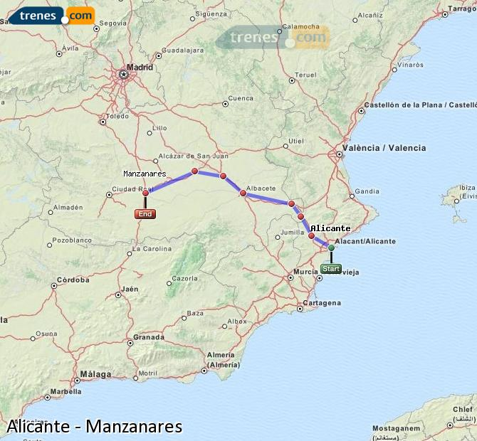 Enlarge map Trains Alicante to Manzanares