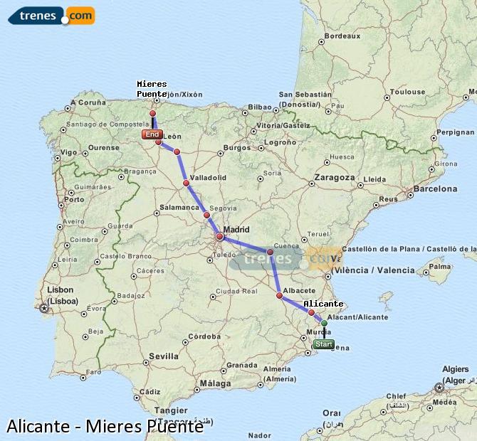 Enlarge map Trains Alicante to Mieres Puente