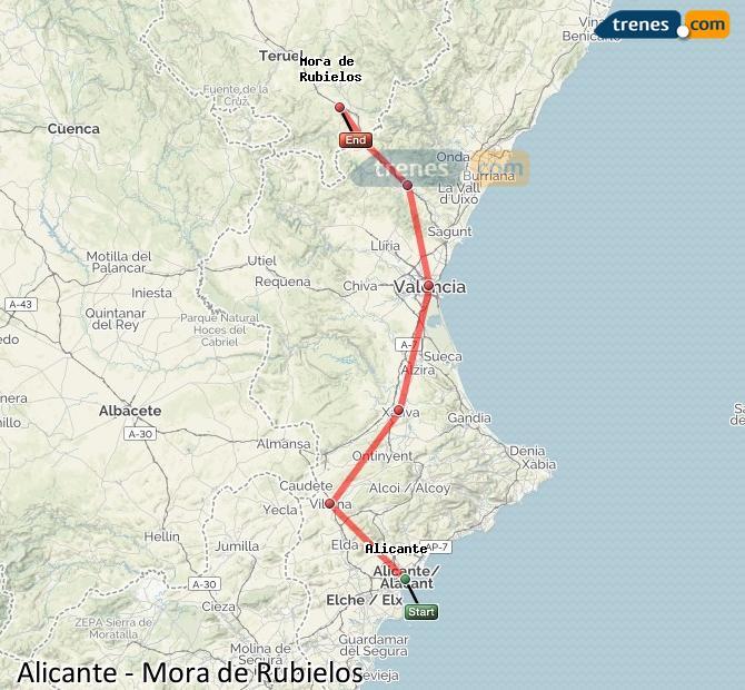 Agrandir la carte Trains Alicante Mora de Rubielos