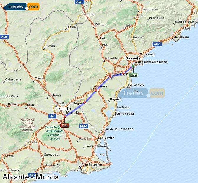 Ampliar mapa Trenes Alicante Murcia