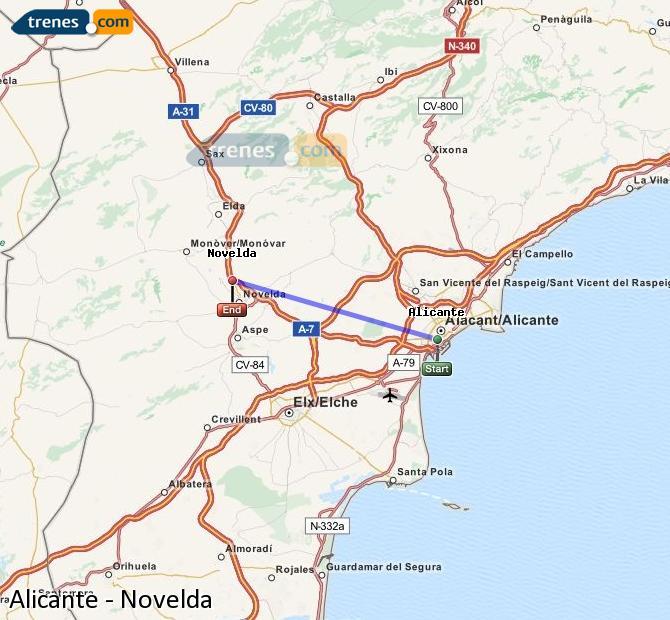 Enlarge map Trains Alicante to Novelda