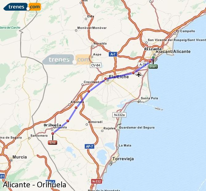 Enlarge map Trains Alicante to Orihuela