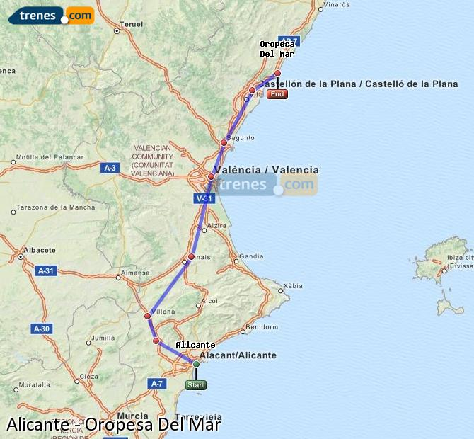 Enlarge map Trains Alicante to Oropesa Del Mar