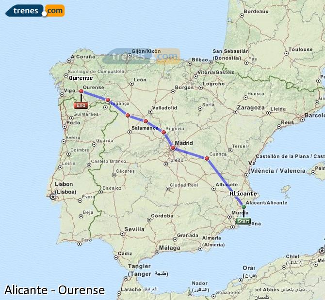 Enlarge map Trains Alicante to Ourense