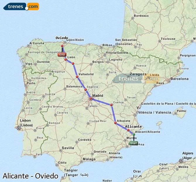 Enlarge map Trains Alicante to Oviedo