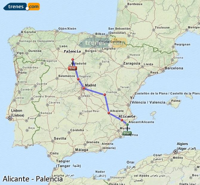 Ampliar mapa Trenes Alicante Palencia