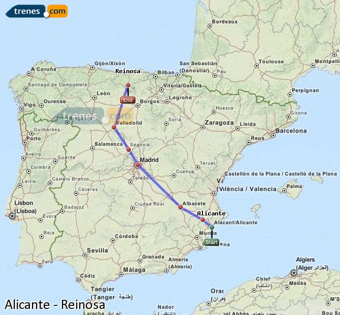 Enlarge map Trains Alicante to Reinosa