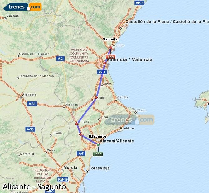 Enlarge map Trains Alicante to Sagunto