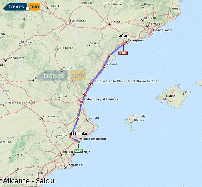 Enlarge map Trains Alicante to Salou