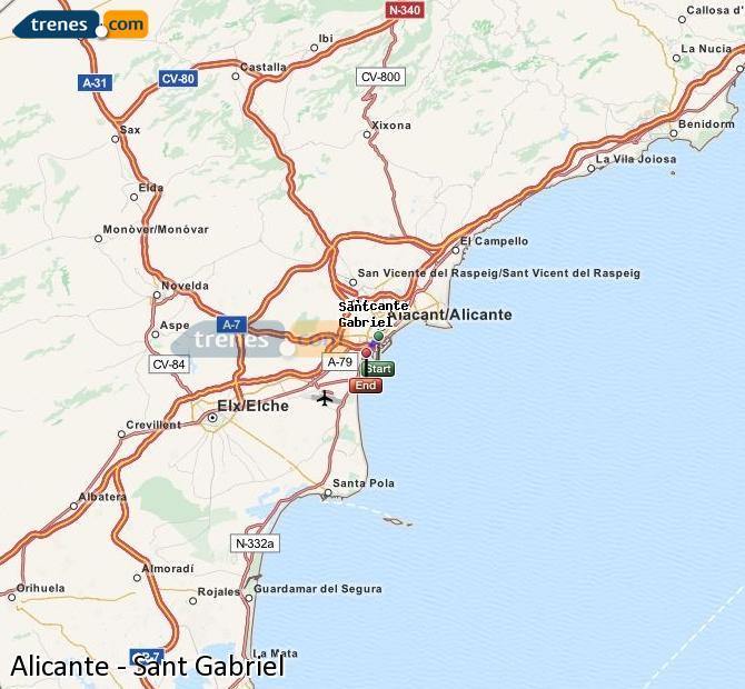 Ampliar mapa Comboios Alicante Sant Gabriel