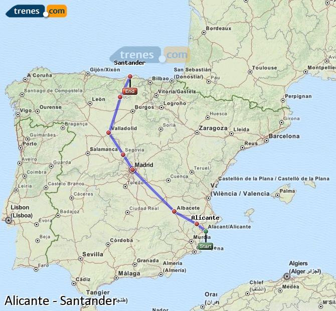 Enlarge map Trains Alicante to Santander
