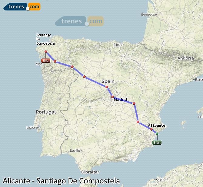 Agrandir la carte Trains Alicante Santiago De Compostela