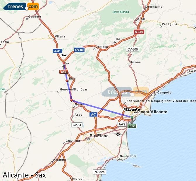 Ampliar mapa Trenes Alicante Sax