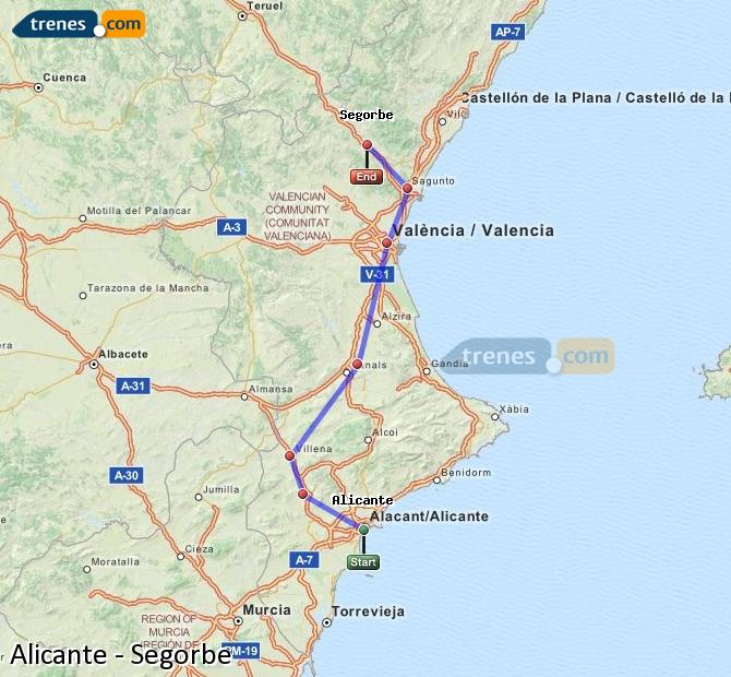Enlarge map Trains Alicante to Segorbe