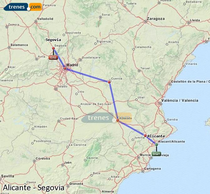 Agrandir la carte Trains Alicante Ségovie