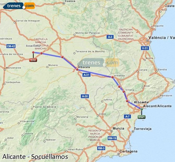 Enlarge map Trains Alicante to Socuéllamos