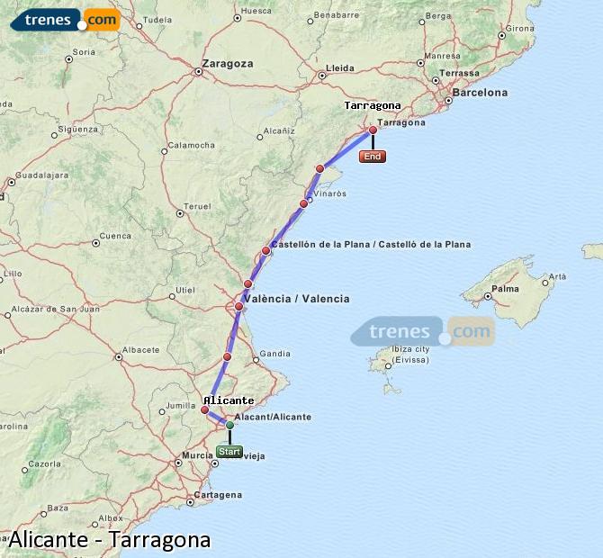 Enlarge map Trains Alicante to Tarragona