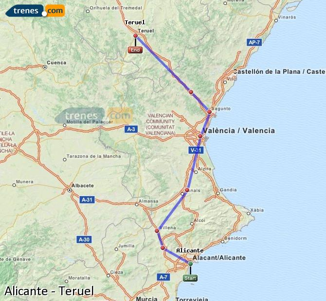 Enlarge map Trains Alicante to Teruel