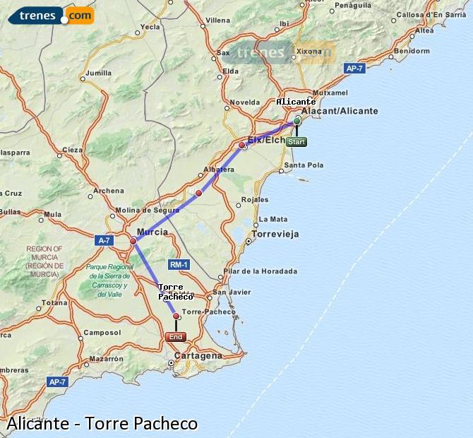 Ingrandisci la mappa Treni Alicante Torre Pacheco