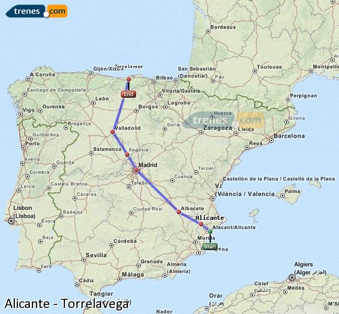 Karte vergrößern Züge Alicante Torrelavega