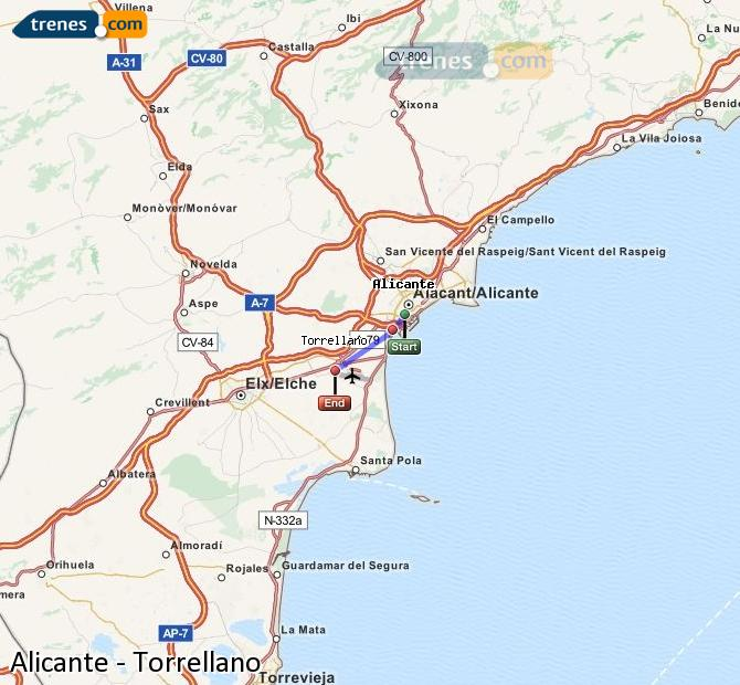 Agrandir la carte Trains Alicante Torrellano