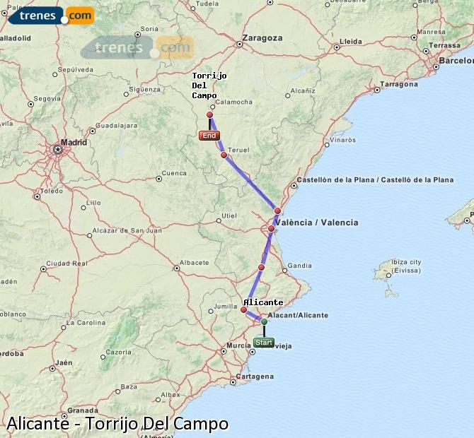 Enlarge map Trains Alicante to Torrijo Del Campo