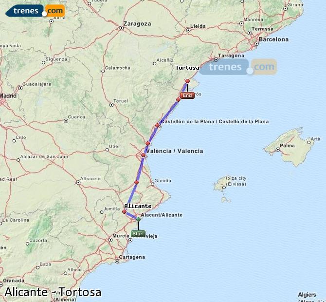 Karte vergrößern Züge Alicante Tortosa