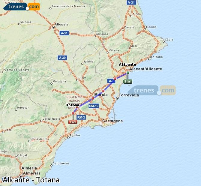 Enlarge map Trains Alicante to Totana