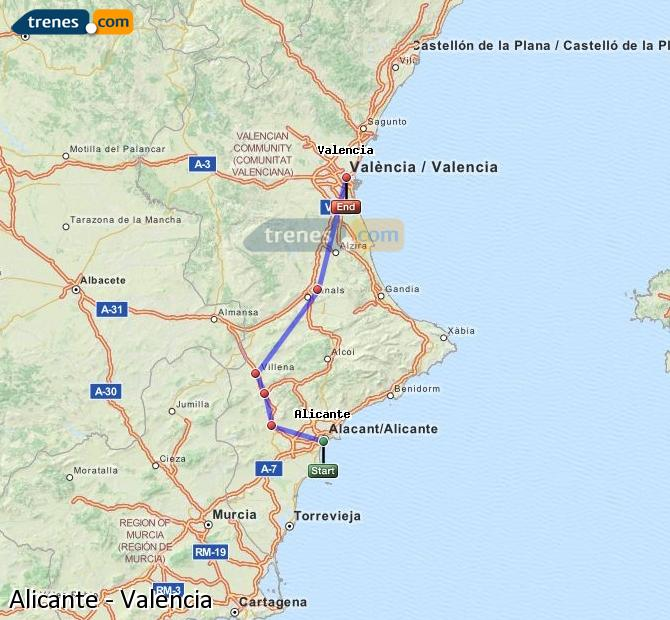 Enlarge map Trains Alicante to Valencia