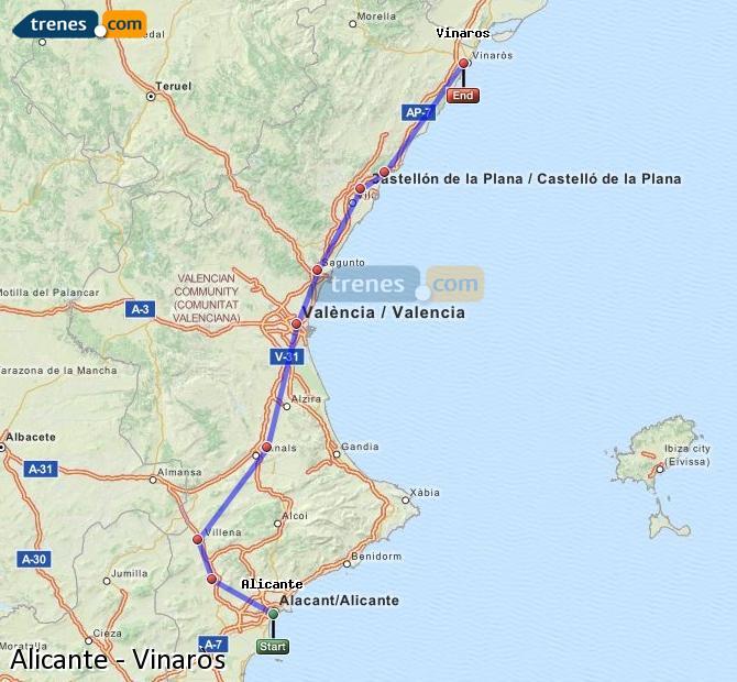 Ingrandisci la mappa Treni Alicante Vinaròs