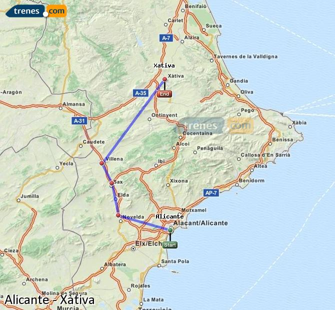 Enlarge map Trains Alicante to Xativa