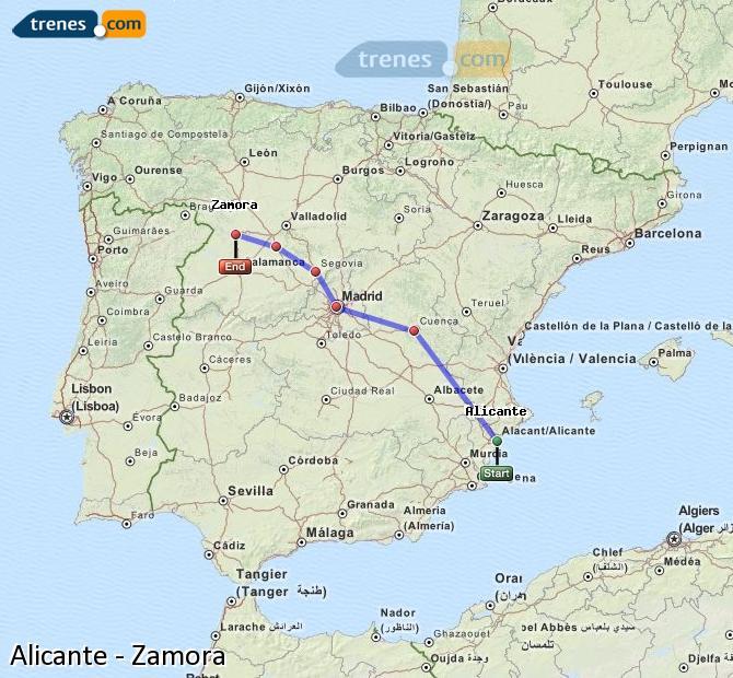 Ampliar mapa Trenes Alicante Zamora