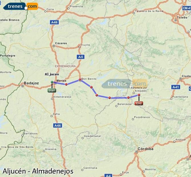 Ingrandisci la mappa Treni Aljucén Almadenejos
