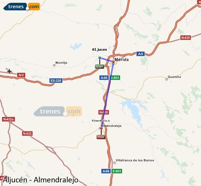 Enlarge map Trains Aljucén to Almendralejo
