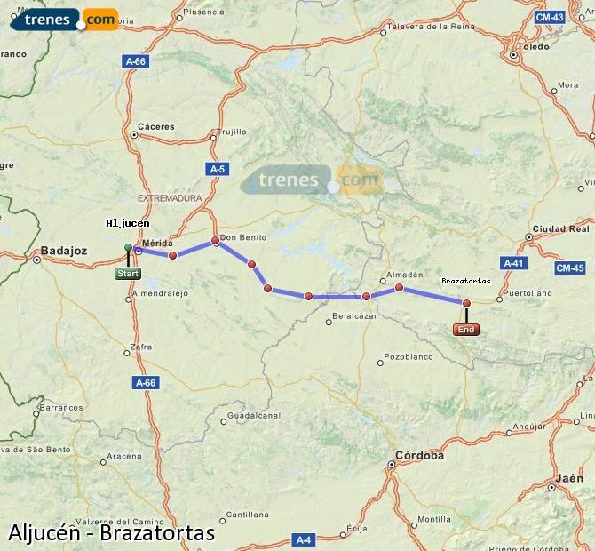 Ampliar mapa Comboios Aljucén Brazatortas
