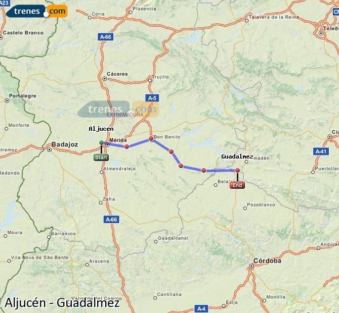 Ingrandisci la mappa Treni Aljucén Guadalmez