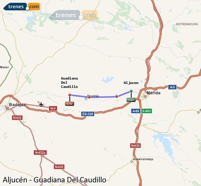 Ampliar mapa Comboios Aljucén Guadiana Del Caudillo