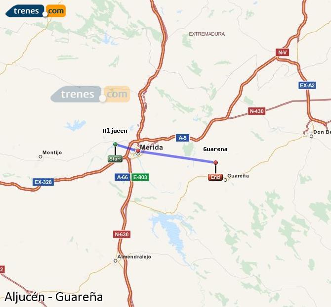 Ingrandisci la mappa Treni Aljucén Guareña