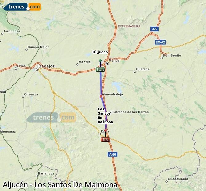 Enlarge map Trains Aljucén to Los Santos De Maimona