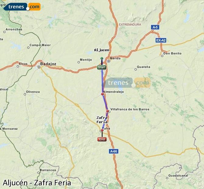Agrandir la carte Trains Aljucén Zafra Feria