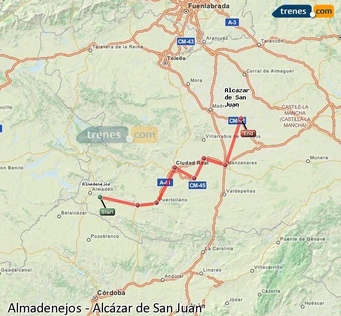 Ampliar mapa Trenes Almadenejos Alcázar de San Juan