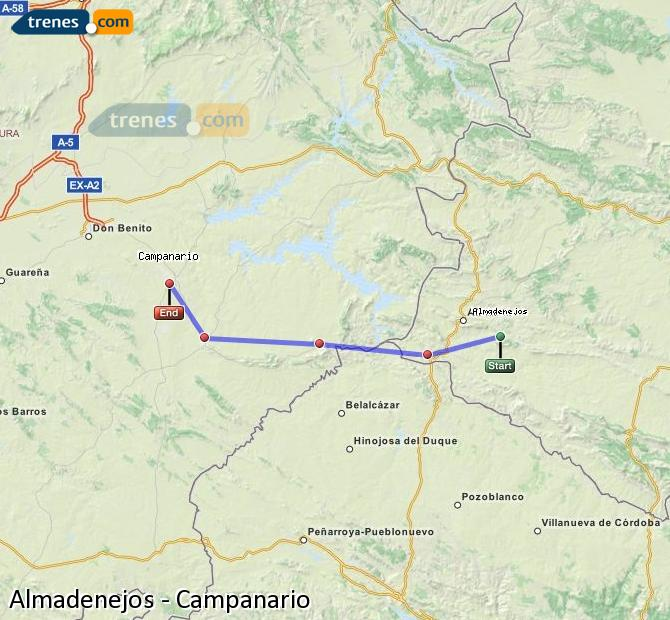 Ampliar mapa Trenes Almadenejos Campanario