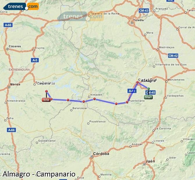 Ampliar mapa Trenes Almagro Campanario