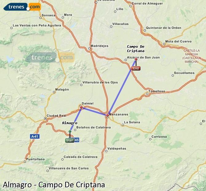 Enlarge map Trains Almagro to Campo De Criptana