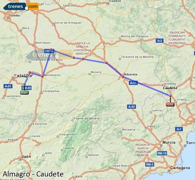 Ingrandisci la mappa Treni Almagro Caudete