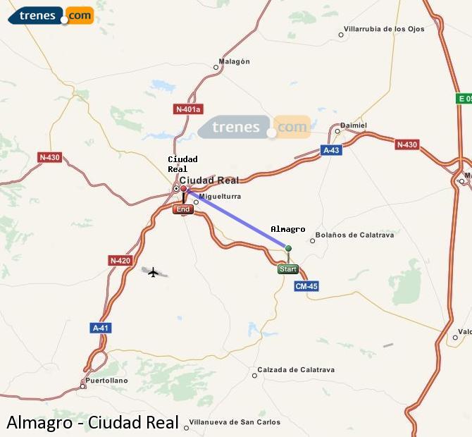 Agrandir la carte Trains Almagro Ciudad Real
